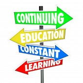 The words Continuing Education, Constant Learning on four colorful road or street signs to illustrat