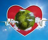 Forma de onda verde y blanco con fondo de cielo de onblue corazón rojo y verde tierra
