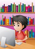 Illustration of a boy playing computer in front of the shelves with books