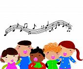 stock photo of christmas song  - Illustration of cute group of christmas carolers - JPG