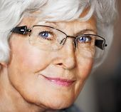 Senior woman portrait with eyeglasses