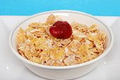 Closeup A Bowl Of Flaky Cereal With Strawberry