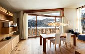 picture of chalet interior  - interior mountain house - JPG