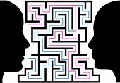 Man Woman Silhouettes Face A Puzzle Maze