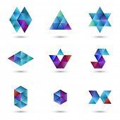 Set of geometrical design elements, vector illustration
