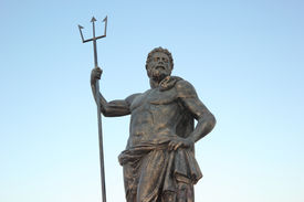 stock photo of poseidon  - The other name of the king of the sea Poseidon standing magnificiently - JPG