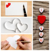 Valentine's Day Collage Of Photos With Hearts
