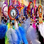 picture of dreamcatcher  - Native American colorful dreamcatchers on artisan market