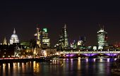 stock photo of london night  - Part of London City Skyline at Night - JPG