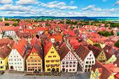 stock photo of bavaria  - Scenic summer aerial panorama of the Old Town architecture and Market Square in Rothenburg ob der Tauber - JPG
