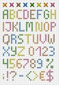 Colorful cross stitch uppercase english alphabet