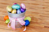 easter eggs in metal pot on table