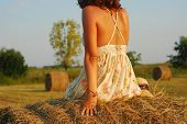 Brunette Girl On Fresh Straw