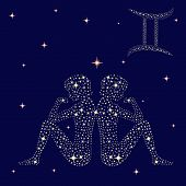 Zodiac Sign Gemini On The Starry Sky