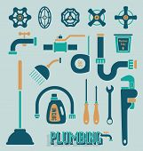 stock photo of plunger  - Collection of retro schemed plumbing icons and symbols - JPG