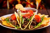 image of tacos  - plate with taco nachos chips and tomato dip - JPG