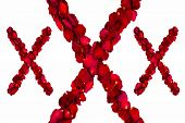 foto of x-rated  - Red dried rose petals arranged into XXX - JPG