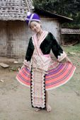 picture of hmong  - Asian woman Laos in traditional clothes Hmong in a Hmong village near Vang Vieng - JPG