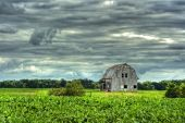 Barn In Scenic Rural Landscape In Hdr
