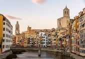 Girona Cathedral And Collegiate Church Of Sant Feliu Over River Onyar