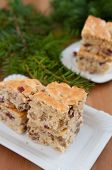 Christmas Blondies with cranberries and walnuts