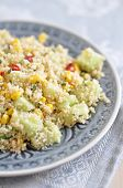 Healthy Couscous Salad with corn, cucumber and pepper