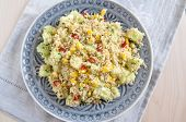 stock photo of tabouleh  - Healthy Couscous Salad with corn - JPG