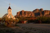 stock photo of superstition mountains  - Church in front of the Superstition mountains - JPG
