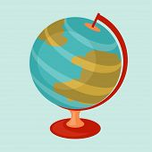 Education icon cartoon abstract stylized school globe.