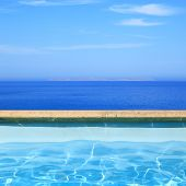 Seascape view from pool side