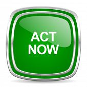 act now glossy computer icon on white background