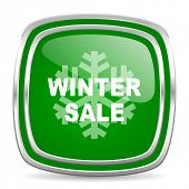winter sale glossy computer icon on white background