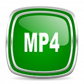 mp4 glossy computer icon on white background