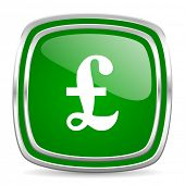 pound glossy computer icon on white background