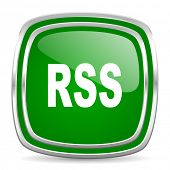 rss glossy computer icon on white background