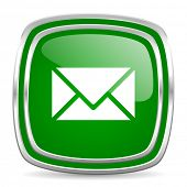 email glossy computer icon on white background
