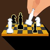 Business strategy with chess figures of chess. Isolated on brown background