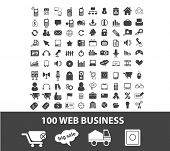 100 web business, bank, finance, money, analytics icons, signs set, vector