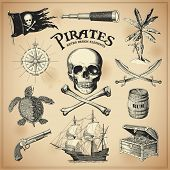 stock photo of pirate  - Collection of hand - JPG