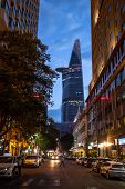 HO CHI MINH CITY, VIETNAM - MARCH 23: Bitexco Financial Tower stands at a height of 262.5 meters and, as of March 23, 2014, it is the 124th tallest building in the world