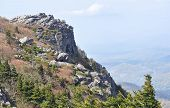 Rocky cliff and alpine landscape at Grandfather Mountain
