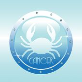 image of cancer horoscope icon  - Abstract colorful horoscope symbol of cancer made on blue background - JPG