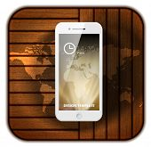 White Mobile Phone with Wood Background and World Map.