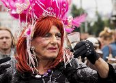 Unidentified Older Transgender During Gay Pride.