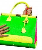 stock photo of neon green  - closeup of the woman - JPG