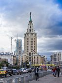 Moscow, Russia, on July 26, 2014. The Leningrad hotel - one of the Moscow skyscrapers