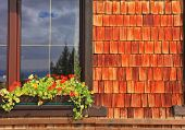 Picturesque popular cafe window with flower pots. Dachstein huge tourist complex in Austrian Alps