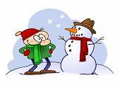 Cartoon character looking at a snowman