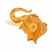 stock photo of diwali  - easy to edit vector illustration of elephant  in floral design - JPG