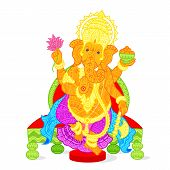 stock photo of ganapati  - easy to edit vector illustration of Lord Ganesha  in floral design - JPG